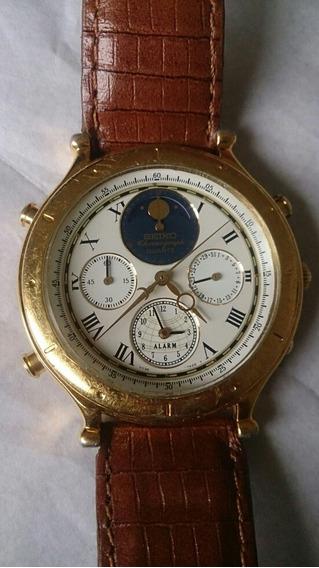 Relógio Seiko 8 Ponteiros Alarm Cronógrafo E Fases De Lua