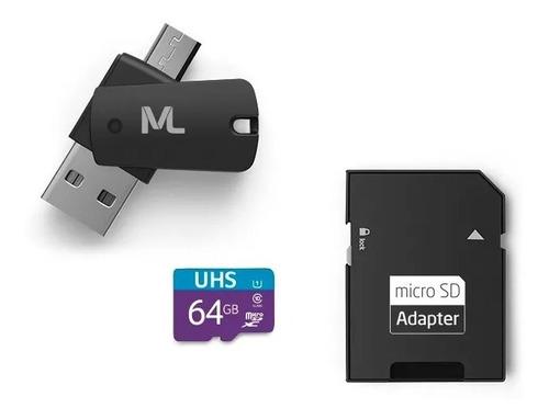 Cartão Micro Sd 64gb Classe10 E Adaptador Micro Usb P Type C