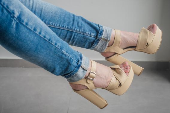 Zapatos Taco Alto Crudo 37 Mujer