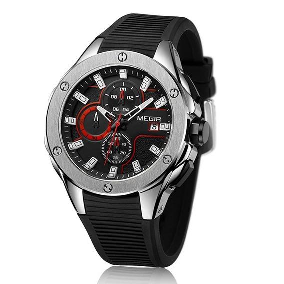 Relógio Masculino Esportivo Megir Original 3d 2053 Promoção