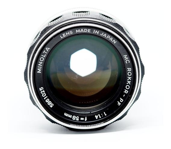 Lente Minolta Mc Rokkor-pf 58mm F/1.4 Analógica - Limpíssima