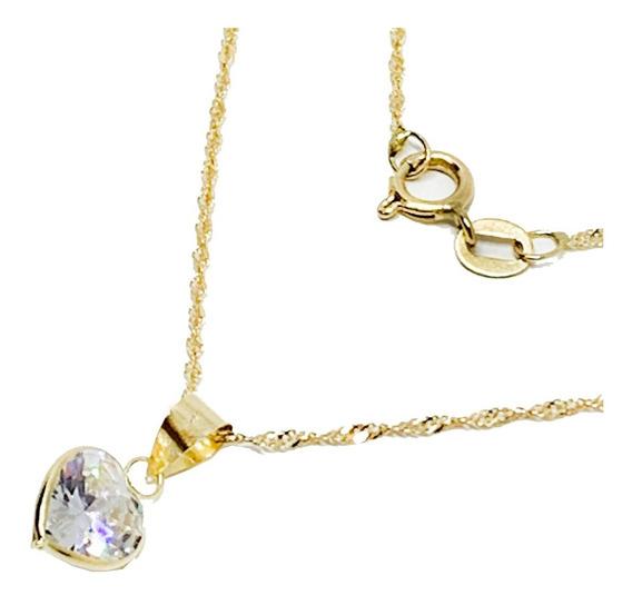 Cordão 50cm /pingente Coração Ouro 18k Presente Dia Das Mães
