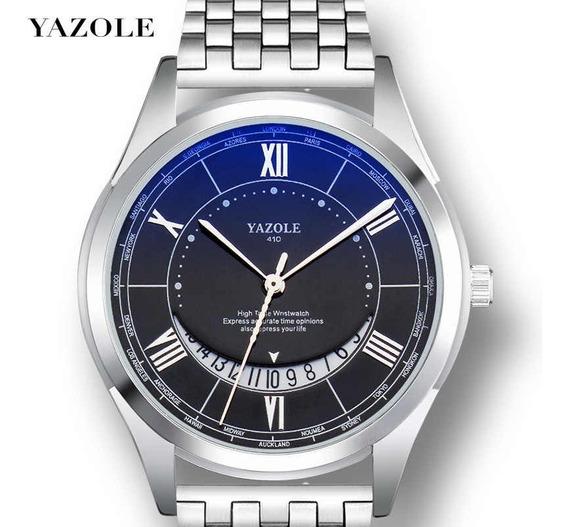 Relógio Masculino Yazole 410® Quartzo Aço Brinde Caixa