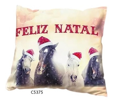 Capa De Almofada Cavalos De Gorro Feliz Natal C5375