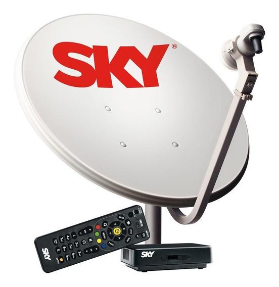 Kit Sky Hd Pré Pago Conforto Antena E Receptor