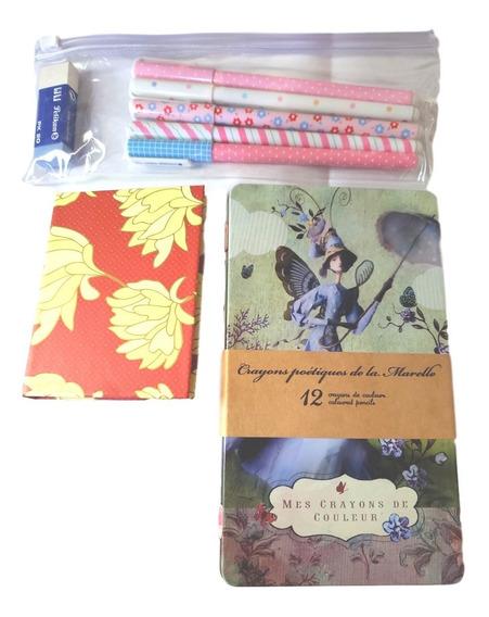 Kit Lápis De Cor, Canetas Gel, Borracha E Stick Notes-c18