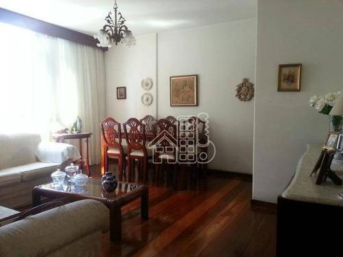 Apartamento Com 3 Dormitórios À Venda, 110 M² Por R$ 550.000,00 - Icaraí - Niterói/rj - Ap2437