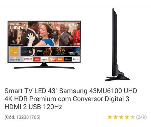 Smart Tv Led 43' Samsung 43mu6100 Uhd 4k Com Tela Defeituosa