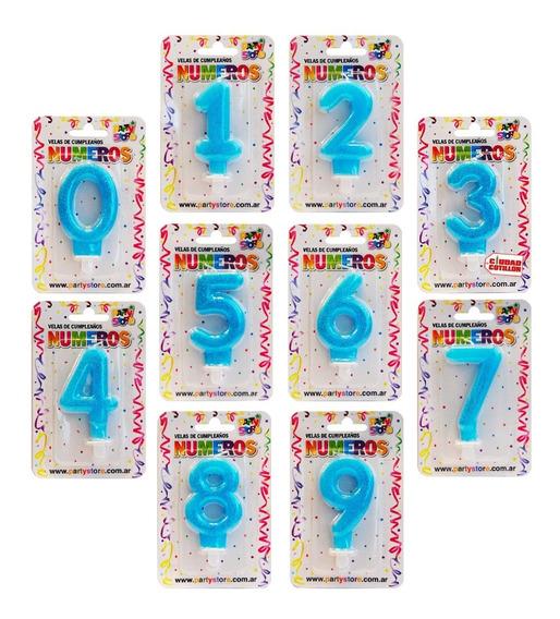 Vela Números Brillo Celeste Velita Cumpleaños - Ciudad Cotil