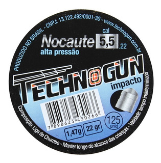 Chumbinho Technogun Nocaute Alta Pressão 5.5 M 125 Uni Carabina