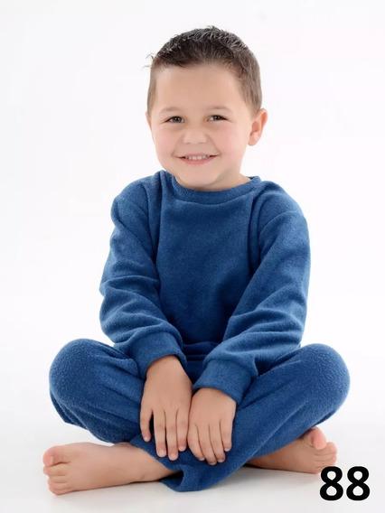 Frio Infantil Soft Calça + Blusa 1 2 3 4 Anos Azul Claro