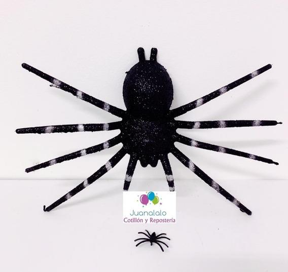 Araña Con Brillo Negra Decoracion Hallowenn 24 Cm X 14 Cm