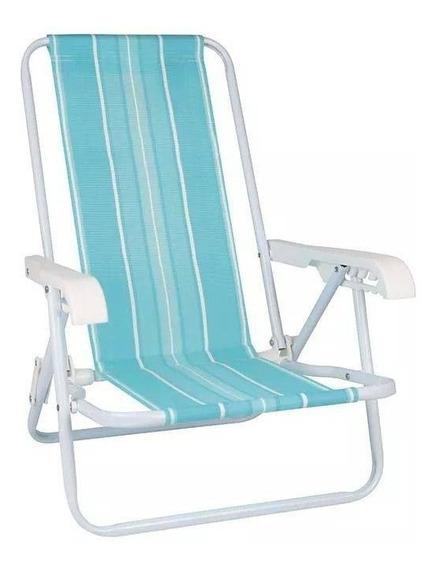 Cadeira De Praia Infantil Reclinável Mor Aço Azul