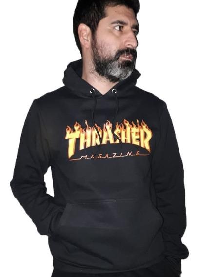 Trasher Buzo Canguro Unisex Skate Flamas