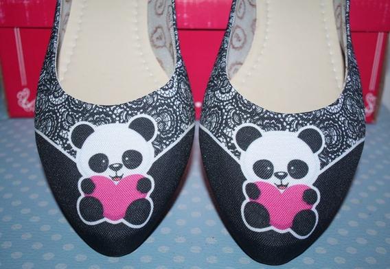 Sapatilha Estampa Urso Panda