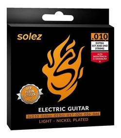Jogo De Cordas Para Guitarra 010 Leve Solez + Brinde