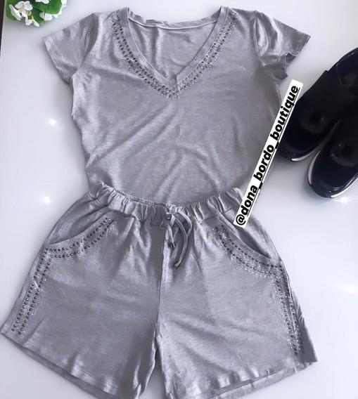 Blusa E Shorts Brilho Conjunto Cintura Alta Tamanhos Verão