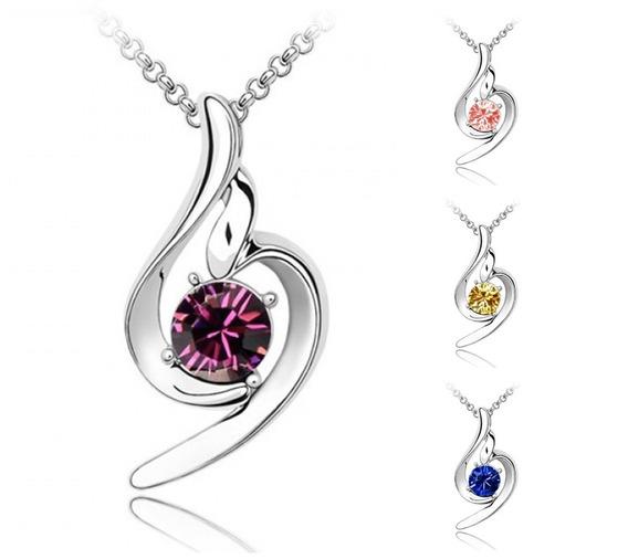 Collar Y Dije Angel De La Suerte Cristales Con Envío