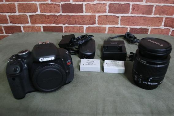 Canon T3i + 2 Bat. + 18-55mm + Alça + Eliminador + Carreg.