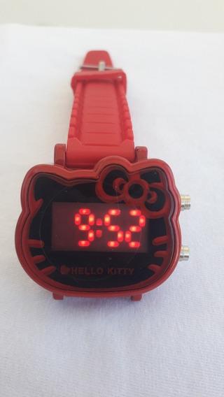 Relógio Vermelho/hello Kitty Menina Digital Led