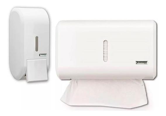 Porta Papel Toalha Compacto Branco + Dispenser Saboneteira