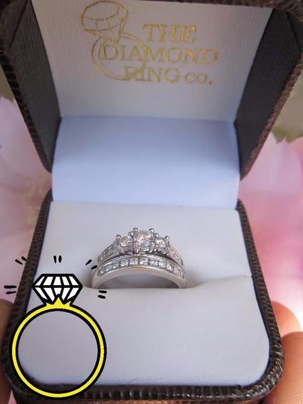 2 Anillos Matrimonio Compromiso Boda Oro 14 K Diamantes Vvs