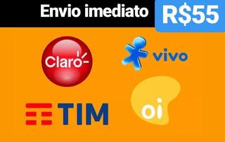 Recarga Celular Crédito Online Tim Claro Vivo Oi R$ 55,00