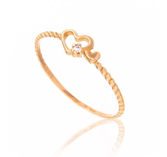 Anel De Ouro 18k Coração Vazado E Aro De Bolinhas Pedras B04
