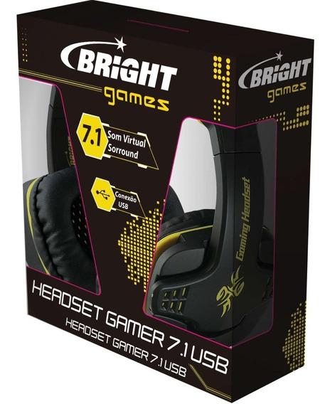 Fone De Ouvido Headset Gamer Usb 7.1 Preto Bright/maxell Un
