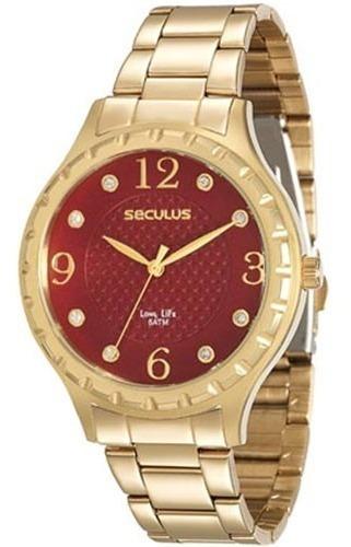 Relógio Seculus Feminino Dourado 23509lpsvda1