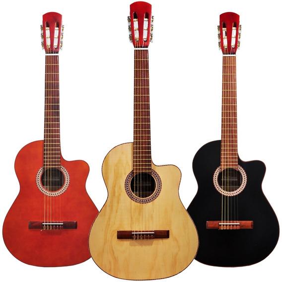 Guitarra Electrocriolla Media Caja Corte Premium Funda Envio