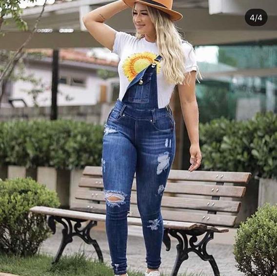 Jardineira Jeans Macacão Calça Feminina C/ Lycra