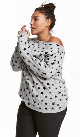 Sweater H&m Plus Size Xxl A Lunares Super Amplio