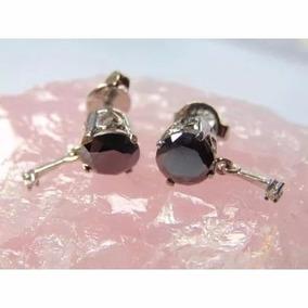 Brincos Feminino Prata 925 Pedra Diamantes Indianos Naturais