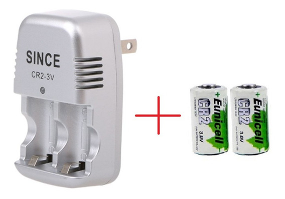 Bateria Cr2 3v 800mah Recarregável Kit 2x + Carregador