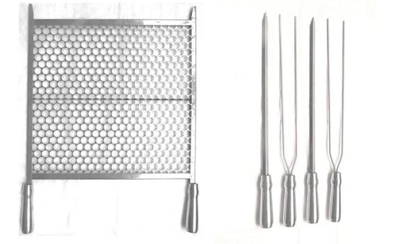 Kit Grelha Moeda 40cm Ou 45cm + 4 Espetos Para Churrasco