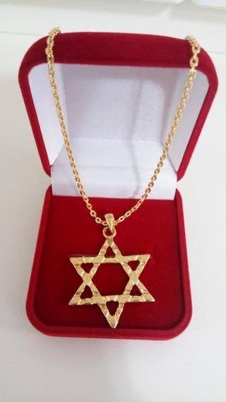 Corrente Masculino 60 Cm Banhado Ouro + Ping Estrela De Davi