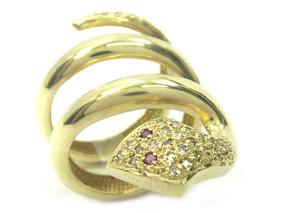 Joianete A9017-70993 Anel Cobra De Ouro Com Diamantes E Rubi