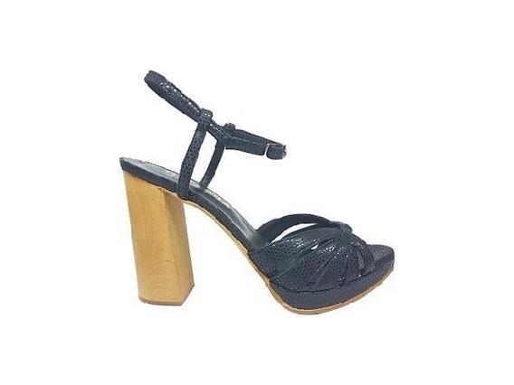 Zapato Mujer Sandalia Alta Natacha Cuero Trop Negro #4011
