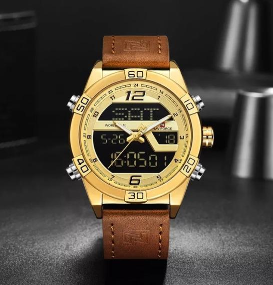 Relógio Masculino Naviforce 91128 Pulseira Em Couro