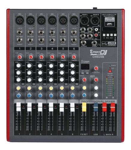 Imagen 1 de 2 de Mixer Pro Dj Ch-6 Usb Consola Pasiva Mezclador Bluetooth