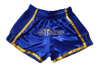 Shorts Muay Thai Attack Blue Cetim Fino - Ultra Leve