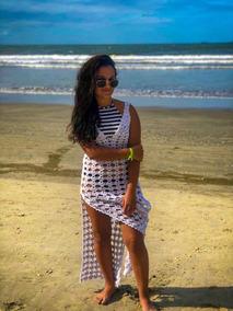 Saída De Praia Em Crochê, Com Abertura Lateral.