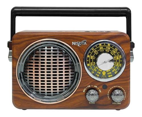 Radio Portátil Bluetooth Vintage Nisuta Retro Usb Recargable