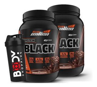 2x Whey 4w Black 840g + Shaker - New Millen