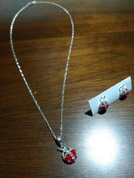 Conjunto Collar Y Aretes Plata De Ley 950 Catarina Mariquita