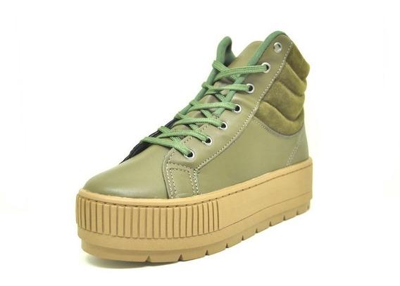 Sapatos Femininos Coturno Tenis Cano Alto Verde Dani K