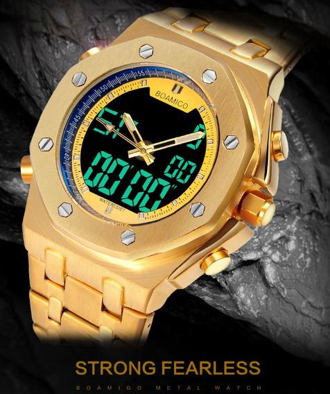 Relógio Boamigo Dourado Multifunções À Prova D