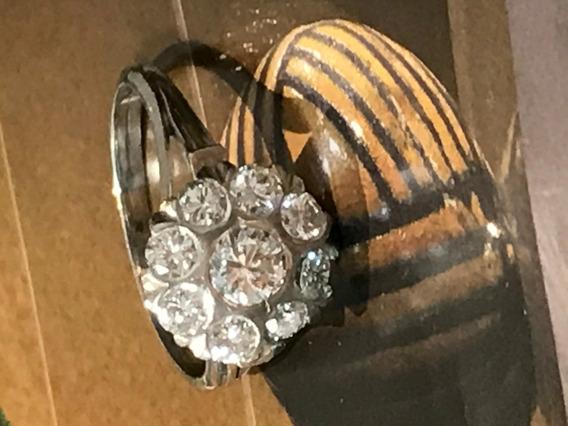 Anel Ouro Branco 18k 750-4.3gr. Aro 15;c/diamantes.