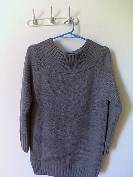Sweter Lana Mujer Largo Cuello Simil Bote Talle 38/40 Gris